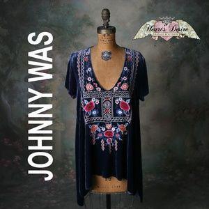 JWLA Johnny Was Boho Raven Velvet Drape Top Sz. M